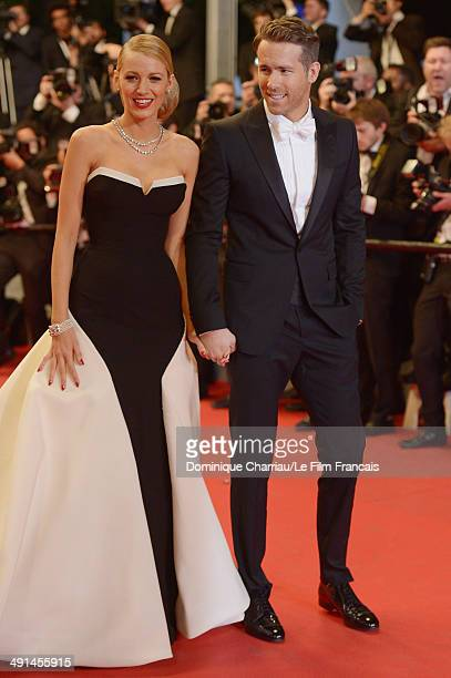 Blake Lively and Ryan Reynolds attend the Captives Premiere at the 67th Annual Cannes Film Festival on May 16 2014 in Cannes France