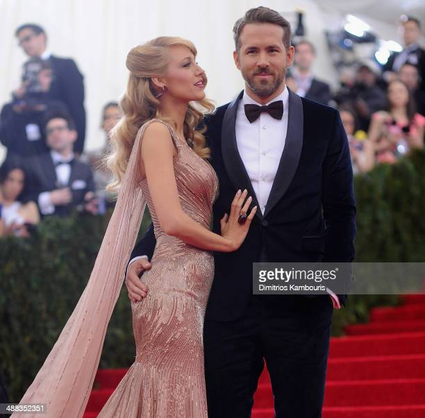 Blake Lively and Ryan Reynolds attend the Charles James Beyond Fashion Costume Institute Gala at the Metropolitan Museum of Art on May 5 2014 in New...