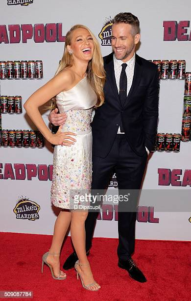 Blake Lively and Ryan Reynolds attend the 'Deadpool' fan event at AMC Empire Theatre on February 8 2016 in New York City