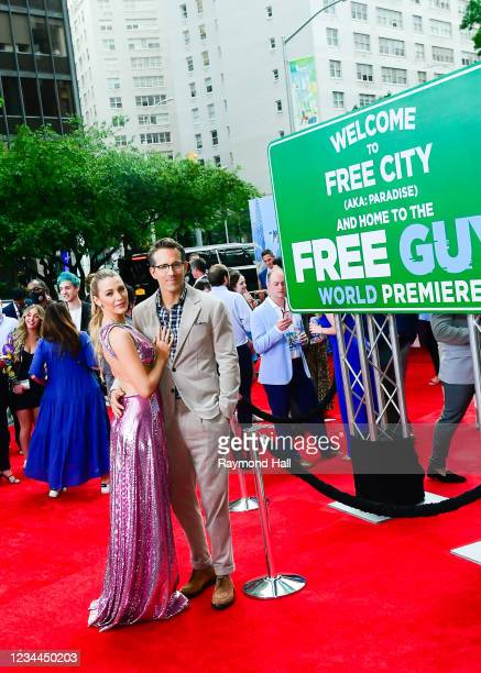 """Blake Lively and Ryan Reynolds attend the """"Free Guy"""" New York Premiere at AMC Lincoln Square Theater on August 3, 2021 in New York City."""