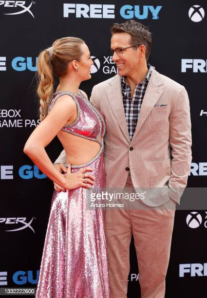 """Blake Lively and Ryan Reynolds attend the """"Free Guy"""" New York Premiere at AMC Lincoln Square Theater on August 03, 2021 in New York City."""
