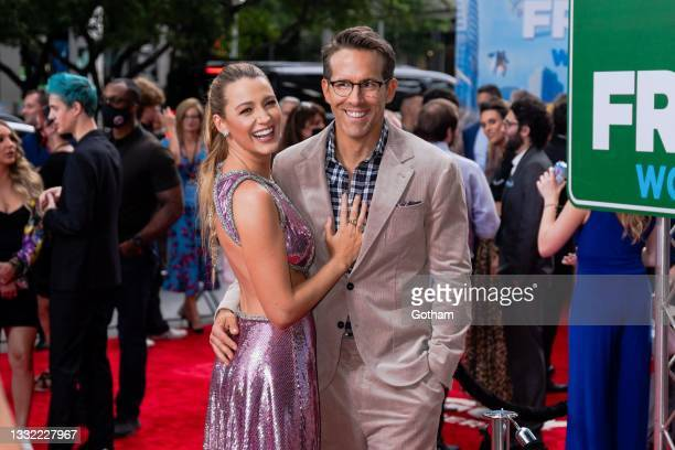 """Blake Lively and Ryan Reynolds attend the """"Free Guy"""" New York premiere at AMC Lincoln Square Theater in the Upper West Side on August 03, 2021 in New..."""