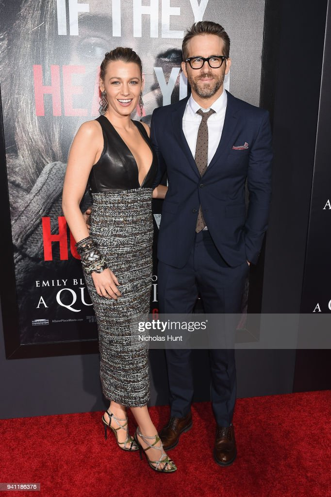 Blake Lively (L) and Ryan Reynolds attend the Paramount Pictures New York Premiere of 'A Quiet Place' at AMC Lincoln Square theater onApril 2, 2018 in New York, New York.