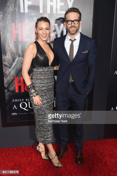 Blake Lively and Ryan Reynolds attend the Paramount Pictures New York Premiere of 'A Quiet Place' at AMC Lincoln Square theater on April 2 2018 in...
