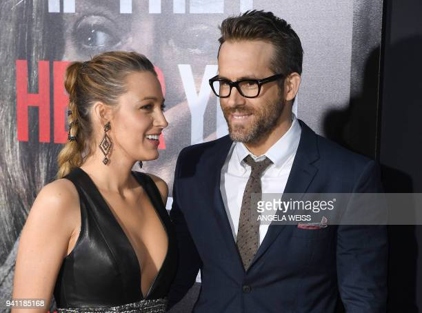 Blake Lively and Ryan Reynolds attend the Paramount Pictures premiere for 'A Quiet Place' at AMC Lincoln Square Theater on April 2 2018 in New York...