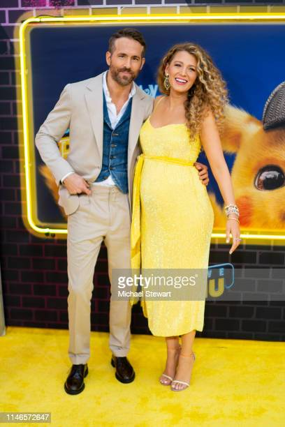 Blake Lively and Ryan Reynolds attend the 'Pokemon Detective Pikachu' US Premiere at Times Square on May 02 2019 in New York City