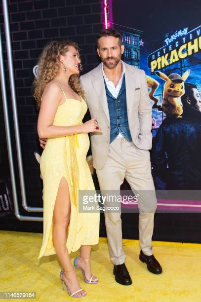 Blake Lively and Ryan Reynolds attend the Pokemon Detective Pikachu US Premiere at Times Square on May 02 2019 in New York City