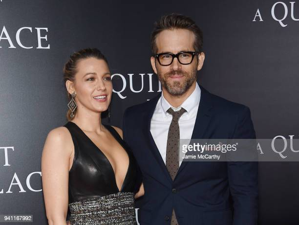Blake Lively and Ryan Reynolds attend the premiere for A Quiet Place at AMC Lincoln Square Theater on April 2 2018 in New York City