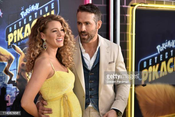 """Blake Lively and Ryan Reynolds attend the premiere of """"Pokemon Detective Pikachu"""" at Military Island in Times Square on May 2, 2019 in New York City."""