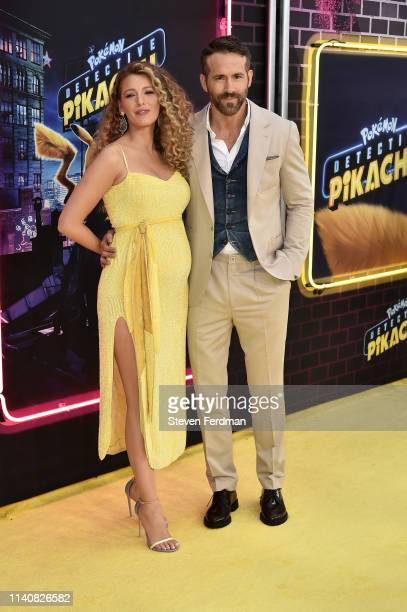 Blake Lively and Ryan Reynolds attend the premiere of Pokemon Detective Pikachu at Military Island in Times Square on May 2 2019 in New York City