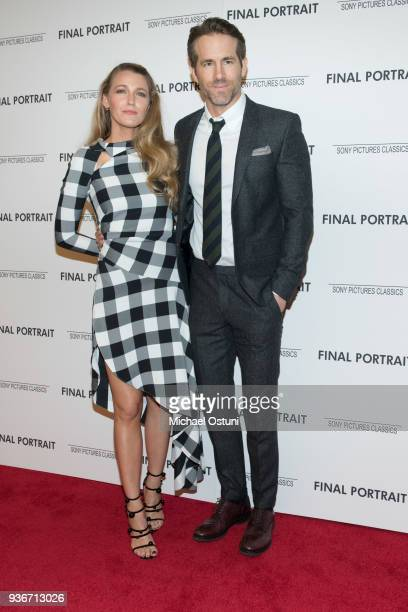 Blake Lively and Ryan Reynolds attend the screening of Final Portrait at Guggenheim Museum on March 22, 2018 in New York City.