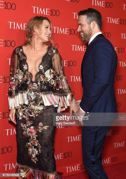 Blake Lively and Ryan Reynolds attend the Time 100 Gala at Frederick P Rose Hall Jazz at Lincoln Center on April 25 2017 in New York City