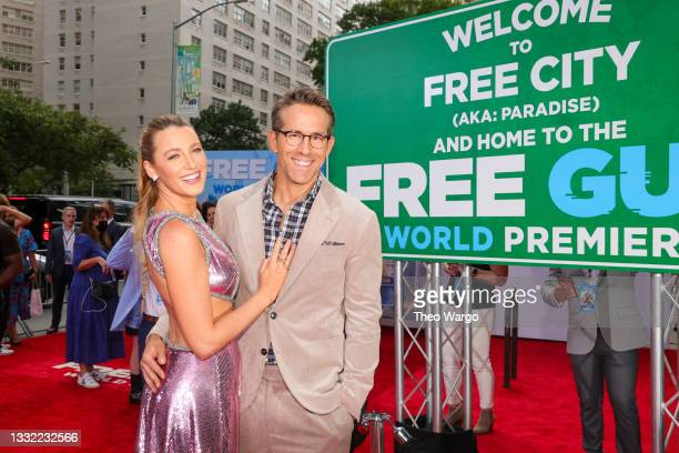 Blake Lively and Ryan Reynolds attend the World Premiere of 20th Century Studios' Free Guy on August 03, 2021 in New York City.