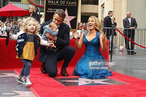 Blake Lively and Ryan Reynolds with their children attend a ceremony honoring actor Ryan Reynolds with Star on the Hollywood Walk Of Fame on December...