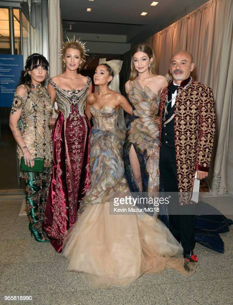 Blake Lively Ariana Grande Gigi Hadid and Christian Louboutin attend the Heavenly Bodies Fashion The Catholic Imagination Costume Institute Gala at...