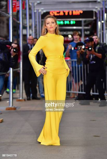 Blake Lively arrives to ABC's 'Good Morning America' in Times Square on October 16 2017 in New York City