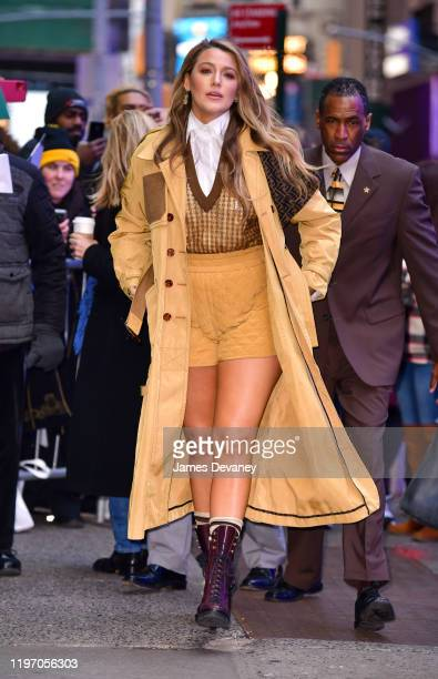 """Blake Lively arrives to ABC's """"Good Morning America"""" on January 28, 2020 in New York City."""
