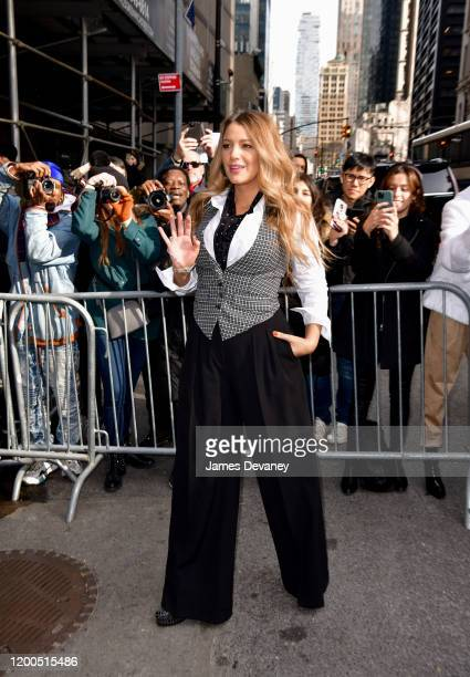 Blake Lively arrives to Michael Kors fashion show at the NYSE on February 12 2020 in New York City