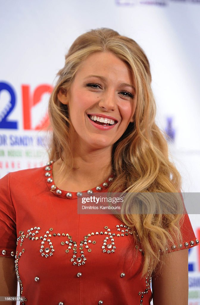 Blake Lively attends '12-12-12' a concert benefiting The Robin Hood Relief Fund to aid the victims of Hurricane Sandy presented by Clear Channel Media & Entertainment, The Madison Square Garden Company and The Weinstein Company at Madison Square Garden on December 12, 2012 in New York City.