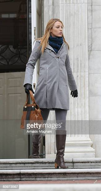 Blake Lively attends a taping of the television series Gossip Girls at Fifth Avenue and 104th Street December 9 2008 in New York City
