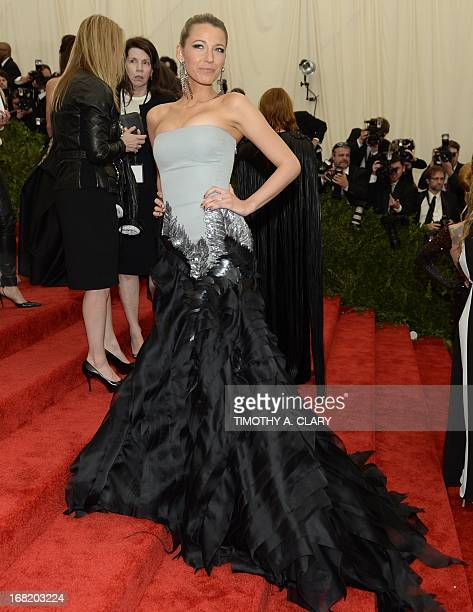 Blake Lively attends the Costume Institute Benefit at The Metropolitan Museum of Art May 6 celebrating the opening of Punk Chaos to Couture AFP PHOTO...