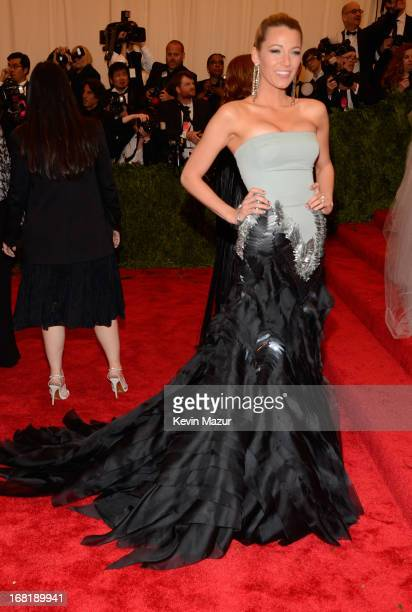 Blake Lively attends the Costume Institute Gala for the 'PUNK Chaos to Couture' exhibition at the Metropolitan Museum of Art on May 6 2013 in New...