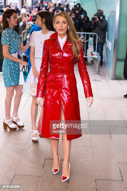 Blake Lively attends the Michael Kors fashion show during New York Fashion Week at the Vivian Beaumont Theater at Lincoln Center on February 14 2018...