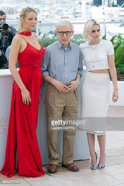 Blake Lively, director Woody Allen and Kristen Stewart attend the 'Cafe Society' Photocall during the 69th Annual Cannes Film Festival on May 11,...
