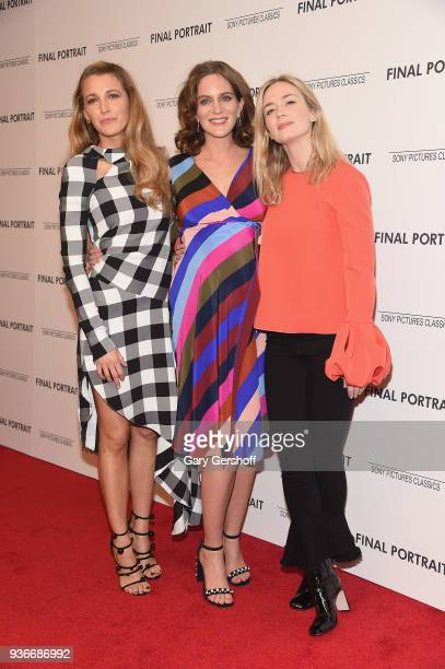 """Blake Lively, Felicity Blunt and Emily Blunt attend the """"Final Portrait"""" New York screening at Guggenheim Museum on March 22, 2018 in New York City."""
