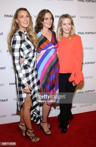 Blake Lively Felicity Blunt and Emily Blunt attend the Final Portrait New York Screening at Guggenheim Museum on March 22 2018 in New York City