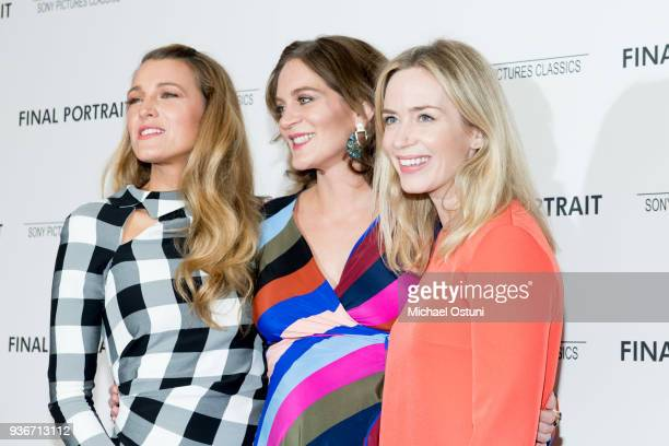 Blake Lively Felicity Blunt and Emily Blunt attend the screening of Final Portrait at Guggenheim Museum on March 22 2018 in New York City