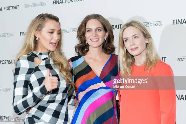 Blake Lively, Felicity Blunt and Emily Blunt attend the screening of Final Portrait at Guggenheim Museum on March 22, 2018 in New York City.