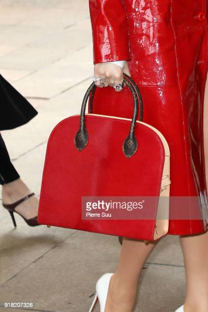 Blake Lively Handbag detail arrives at the Michael Kors Show during the New Yorl Fashion Week 2018 on February 14 2018 in New York City