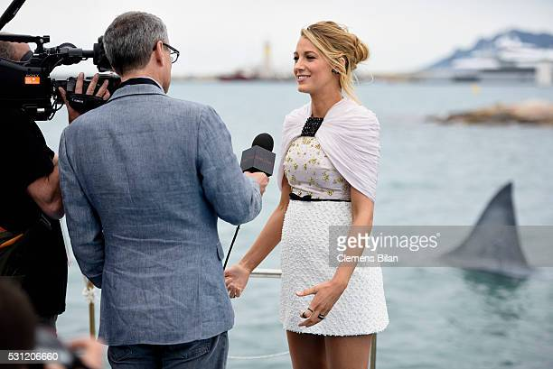 Blake Lively makes it to shore for 'The Shallows' photocall during the 69th annual Cannes Film Festival at La Plage Majestic on May 13 2016 in Cannes...