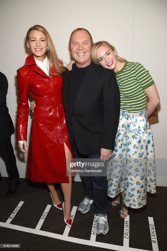 Blake Lively, Michael Kors, and Emily Blunt attend the Michael Kors Collection Fall 2018 Runway Show at Vivian Beaumont Theatre at Lincoln Center on February 14, 2018 in New York City.
