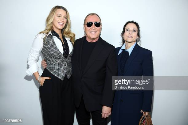 Blake Lively Michael Kors and Julia LouisDreyfus pose backstage during the Michael Kors FW20 Runway Show on February 12 2020 in New York City