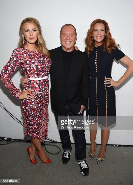 Blake Lively Michael Kors and Robyn Lively pose backstage before the Michael Kors Collection Fall 2017 runway show at Spring Studios on February 15...