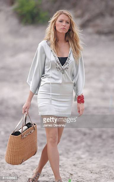Blake Lively on location for 'Gossip Girl' on June 26 2008 in Rockaway Beach Queens New York
