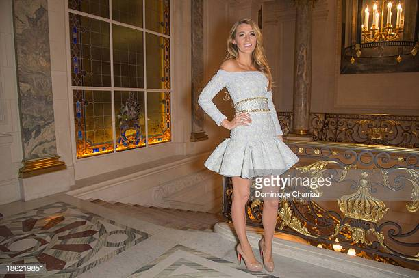 Blake Lively poses as the new L'Oreal egerie during the Annoucement Of The New Egerie L Oreal Paris at Shangri-La Hotel Paris on October 29, 2013 in...