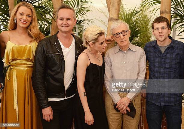 "Blake Lively, Roy Price, Kristen Stewart, director Woody Allen and Jesse Eisenberg attend the Amazon Studios ""Cafe Society"" press luncheon during the..."