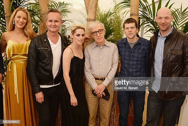 "Blake Lively, Roy Price, Kristen Stewart, director Woody Allen, Jesse Eisenberg and Corey Stoll attend the Amazon Studios ""Cafe Society"" press..."