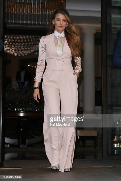 Blake Lively seen leaving the Corinthia Hotel ahead of the 'A Simple Favour' UK Premiere on September 17, 2018 in London, England.