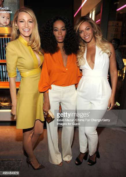 Blake Lively Solange and Beyonce attend the CHIME FOR CHANGE OneYear Anniversary Event hosted by Gucci Creative Director Frida Giannini and T...