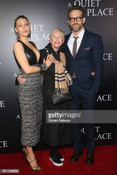 "Blake Lively, Tammy Reynolds and Ryan Reynolds attend New York Premiere of ""A Quiet Place"" on April 2, 2018 in New York City."