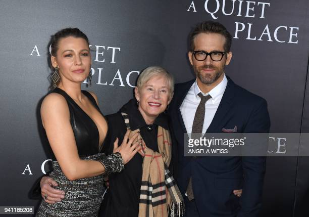Blake Lively Tammy Reynolds and Ryan Reynolds attend the Paramount Pictures premiere for 'A Quiet Place' at AMC Lincoln Square Theater on April 2...