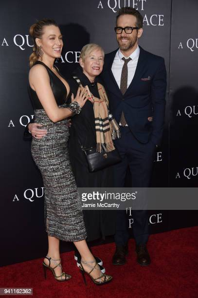 "Blake Lively, Tammy Reynolds and Ryan Reynolds attend the premiere for ""A Quiet Place"" at AMC Lincoln Square Theater on April 2, 2018 in New York..."