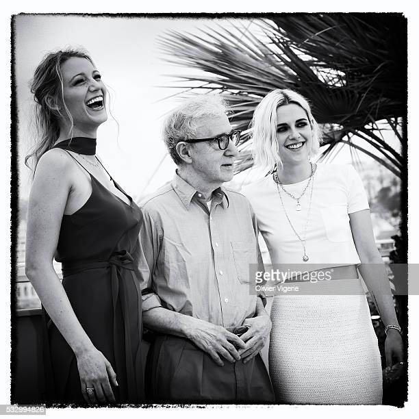 Blake Lively, Woody Allen and Kristen Stewart attend the 'Cafe Society' Photo-Call during the 69th annual Cannes Film Festival on may, 12th 2016 in...