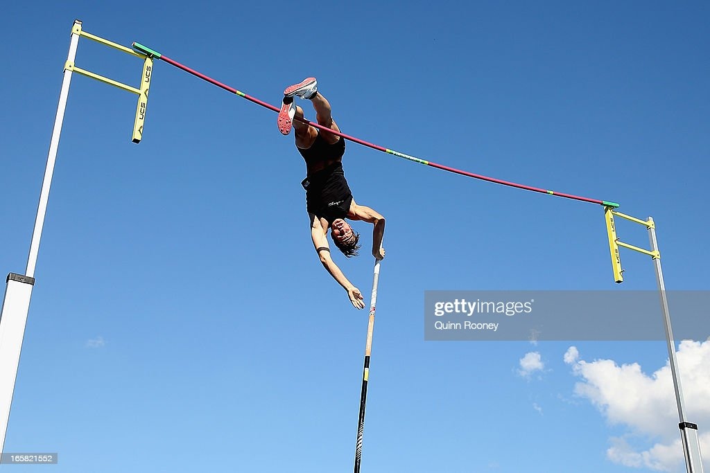 Blake Lucas of Australia jumps in the Men's Pole Vault during the 2013 Melbourne Track Classic at Olympic Park on April 6, 2013 in Melbourne, Australia.
