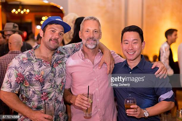 """Blake Lynch, John Binninger and Ryan Kim pose for a picture at the 2016 Outfest Los Angeles Closing Night Gala Of """"Other People"""" After Party at The..."""