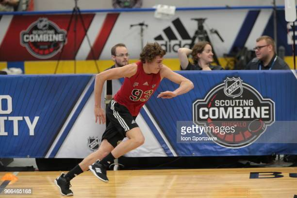 Blake Mclaughlin completes the pro agility test during the NHL Scouting Combine on June 2 2018 at HarborCenter in Buffalo New York